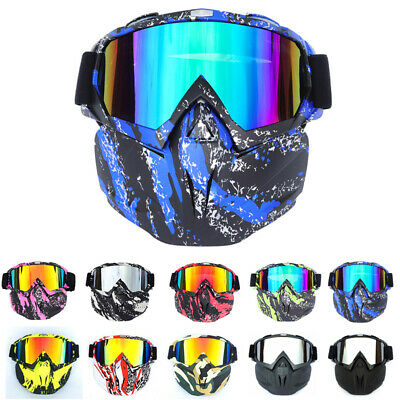Motorcycle Motocross MX Helmets Face Mask Detachable Goggles ATV Eyewear (Goggles Eyewear)