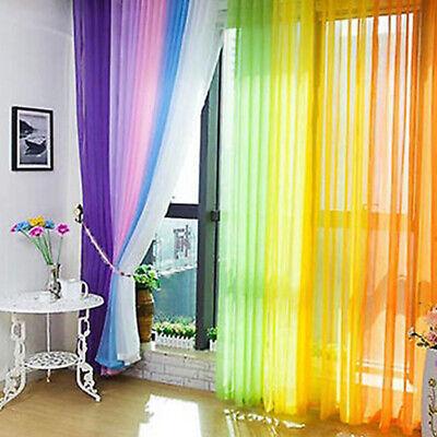 Voile Schlaufenschal Regenbogen Gardine Netzvorhang Hochzeit Hintergrund Vorhang