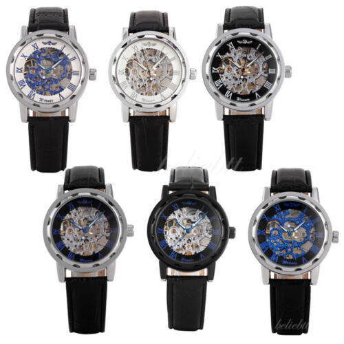 $12.99 - Luxury Black Dial Mens Skeleton Stainless Steel Automatic Mechanical Wrist Watch
