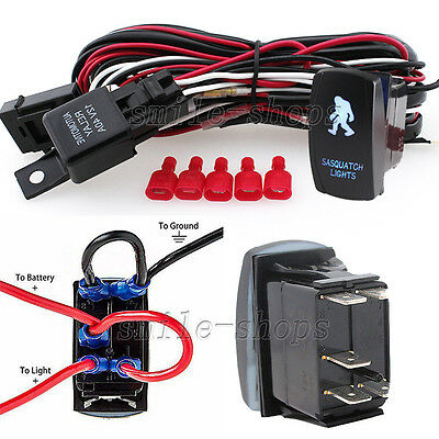 12V On/Off Blue Laser Sasquatch Light Rocker Switch Kit with Relay Wiring (Installing A Ceiling Light With 3 Wires)