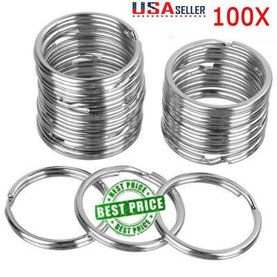 100Pcs Key Rings Chains Split Ring Hoop Metal Loop Steel Accessories 25mm |USA