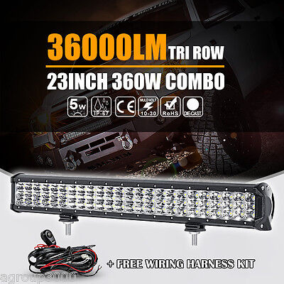 TRI ROW 23INCH 360W CREE LED WORK LIGHT BAR SPOT FLOOD BEAM FOG LAMP 22