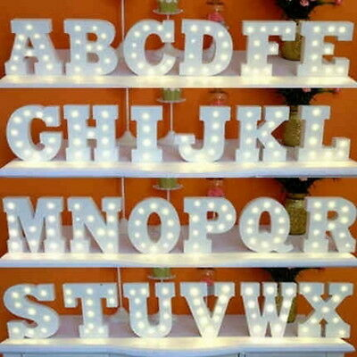 (LED Letter Sign Alphabet Warm White Lights Lamp Party Wedding Store Decor DIY US)