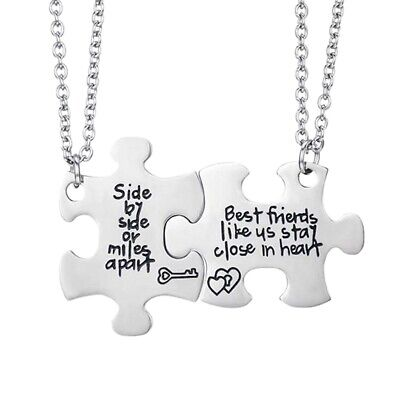 Best Friends Side By Side or Miles Apart Best Friend Necklaces Set Heart Be