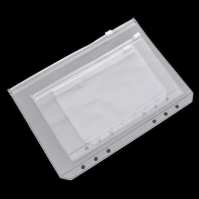 2 Pcs Transparent Zip Lock Envelope Binder Pocket Refill Organiser Stationery