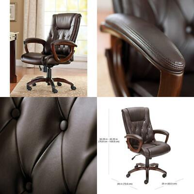 Office Rolling Computer Brown Chair High Executive Back Desk Leather Heavy Duty