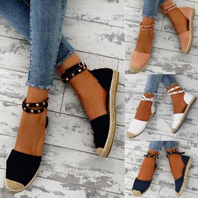 Womens Stud Ankle Strap Espadrilles Sandals Ladies Summer Rivet Flat Shoes Size