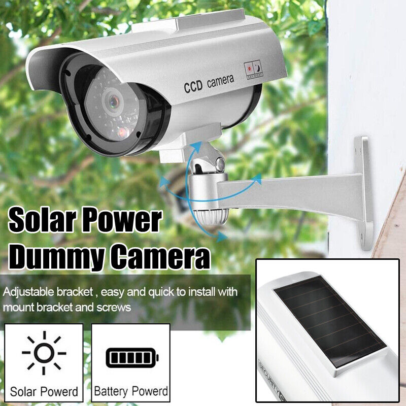 Solar Power Bullet Fake Dummy Camera Security CCTV Surveillance w/ Record Light