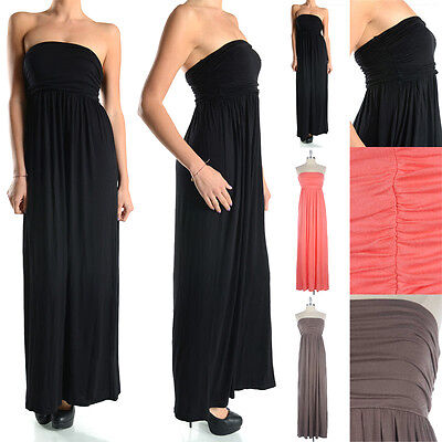 Solid Rayon Jersey Dress (Women's Solid Strapless Rayon Tube Maxi Dress Long Plain Jersey Spandex S M)