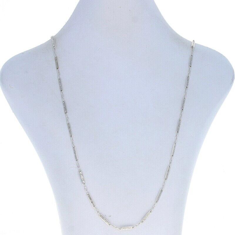 "Sterling Vintage Fancy Link & Bar Chain Necklace 28 1/2"" -925 Flourishing Scroll"