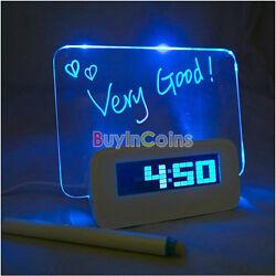 Fresh Portable Calendar Fluoresce Message Board USB Blue LED Light Alarm Clock