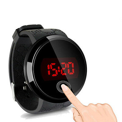 Fashion Waterproof Men Watch Led Touch Screen Day Date Silicone Wrist Watch Bk