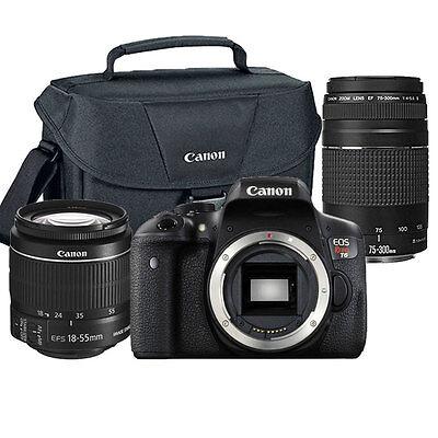 Canon EOS Rebel T6 18MP DSLR Camera with 18-55mm + 75-300mm Lens Premium Bundle