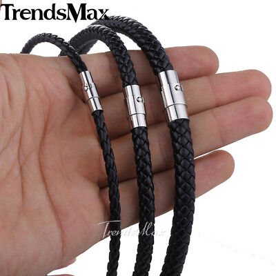 "4/6/8mm Black Leather Black Braid Rope Cord Magnet Chain Necklace Jewelry 14-22"" Black Leather Rope Necklace"