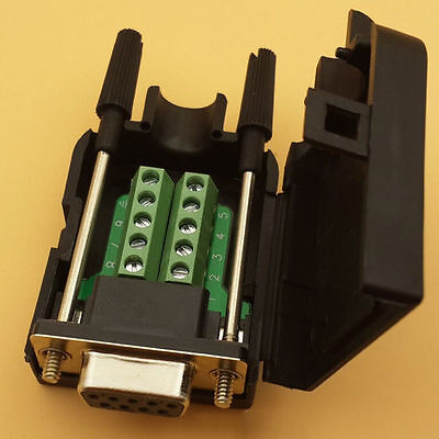 Db9 Female 9pin D-sub Connector Solderless Terminal Board Plastic Cover Tcus