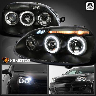 - For 2006-2010 VW Jetta MK5 Golf Rabbit GTI LED Halo Projector Headlights Black