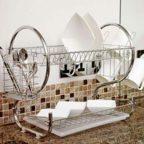 Metal Dish Rack Drainer Sink Cutlery Drying Holder Dryer Tra
