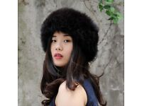 DAYMISFURRY--- Knit Luxe Fox Fur Headband In Black