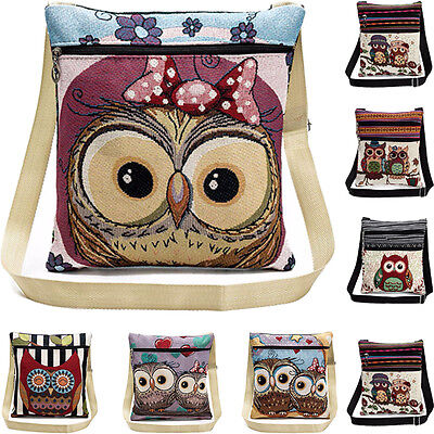 Embroidered Owl Tote Bags Women Shoulder Bags Handbags Postman Package Satchel - Owl Tote