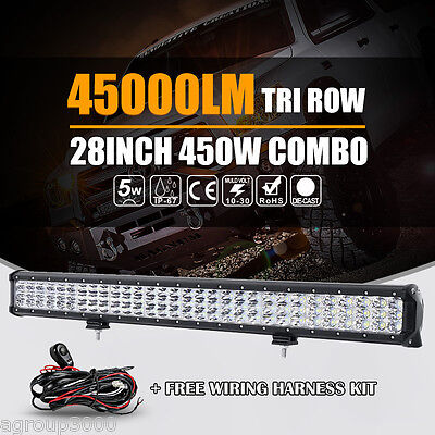 8D TRI ROW 28INCH 450W CREE LED LIGHT BAR SPOT FLOOD DRIVING 4X4 4WD CAR PICKUP