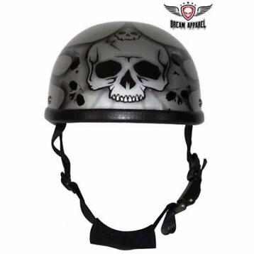 burning skull zilver chopper helm  Dream Apparel