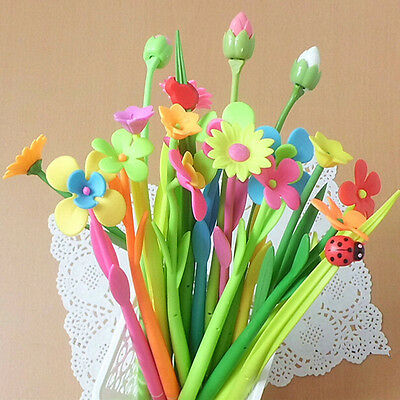 Gift Flower Plant Shape Pens Gel Pen Fashion 12pcslot Pens Black Ink Wholesale