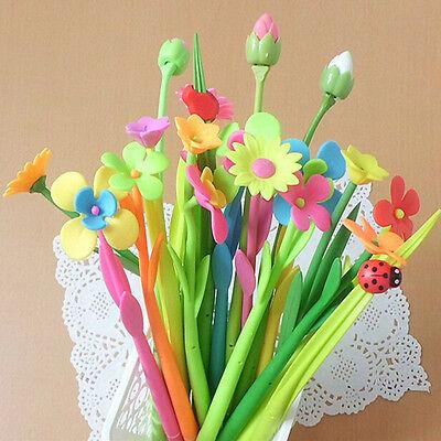 Gift Flower Plant Shape Pens Gel Pen Fashion 12pcslot Pens Black Ink Wholesale