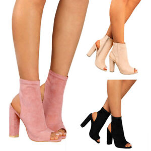 Womens Ladies Platform High Block Heel Sandals Open Toe Boots