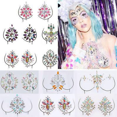 Women Body Breast Chest Pasties Jewels Crystal Glitter Tattoo Adhesive Stickers (Tattoo Breast)