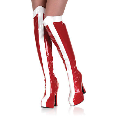 Red White Wonder Woman Super Hero Thigh High Halloween Costume Boots Womans 8 9 - Costume White Boots