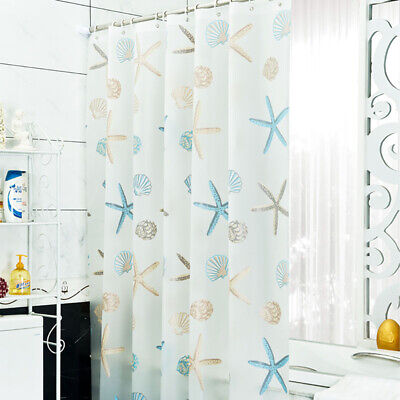Waterproof Sea Shell Starfish Pattern Shower Curtain Bathroo