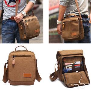 Men's Canvas Shoulder Bag Leather Military Messenger Bag Satchel Vintage School
