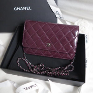 Chanel Wallet on Chain WOC in Dark Purple Patent Leather