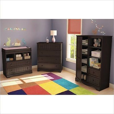 Modern Baby Furniture Sets Espresso Changing Table Dresser Nursery Armoire - 3pc
