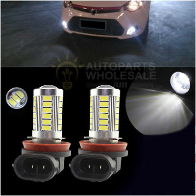 2× White 6000K High Power H11 33SMD LED Lens Bulbs For Car Driving Fog Lights