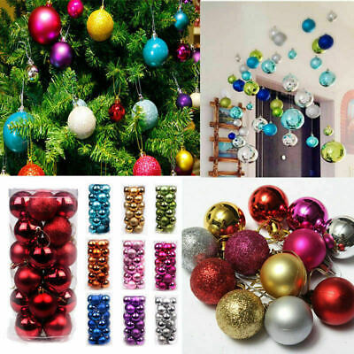 24PC Christmas Tree Balls Small Bauble Hanging Home Party Ornament Decor 30mm ()