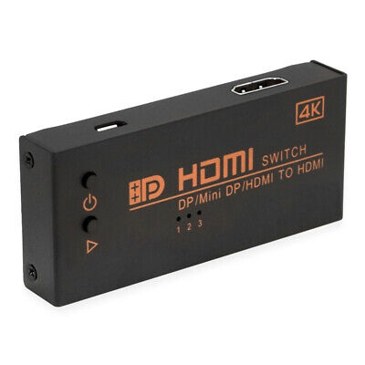 1 Output Hdmi Selector (DP / HDMI / Mini Displayport to HDMI Output Switch Selector 3 In 1 Out 4K x 2K )