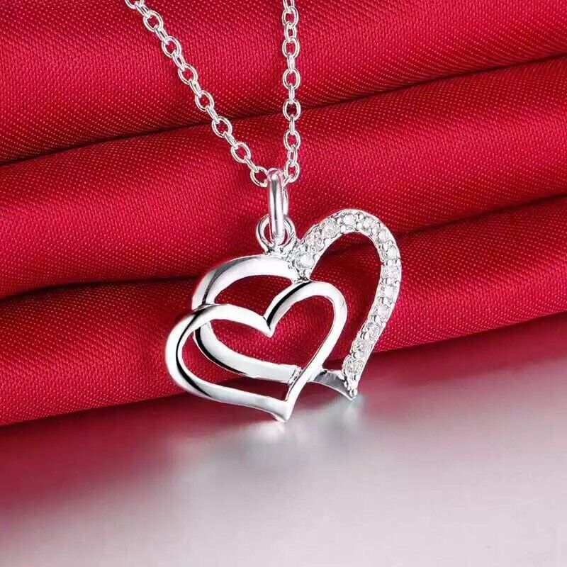 925 Sterling Silver Double 2 Heart Love Pendant Necklace Anniversary Gift N83 Fashion Jewelry