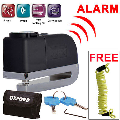 Oxford OF229 Screamer Alarm Disc Lock Motorbike Motorcycle Lock + Free Reminder