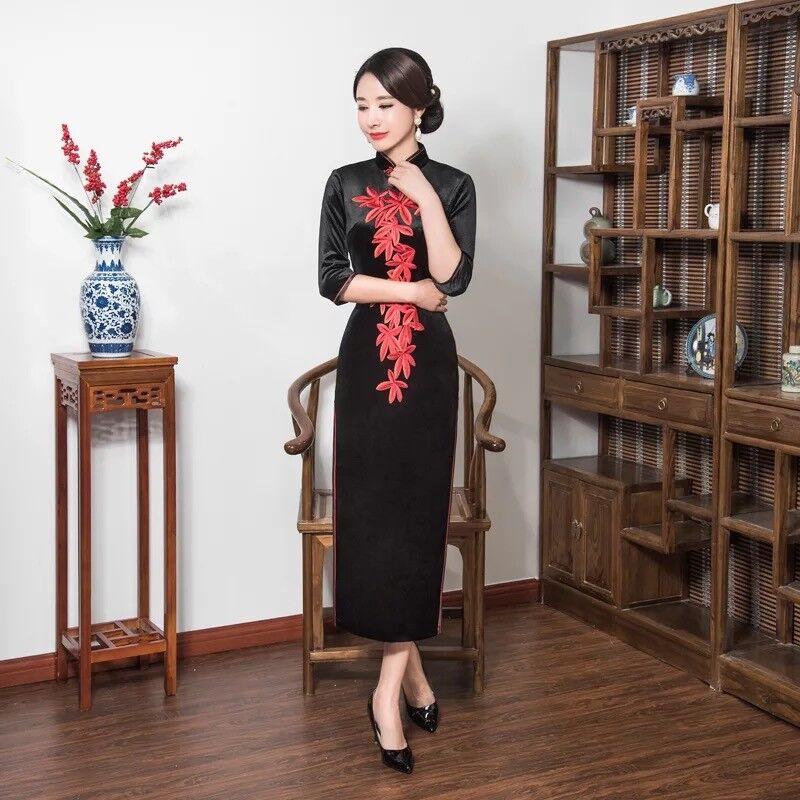 Nouveau luxe noir et velours Rouge chinois Longue Robe Cheongsam QiPao lcdress 46