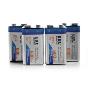 New 4 pack 9V 6F22 Li-ion 600mAh Rechargeable Batteries