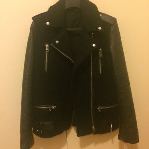 "TOPSHOP WOOL/""LEATHER"" BIKER JACKET"