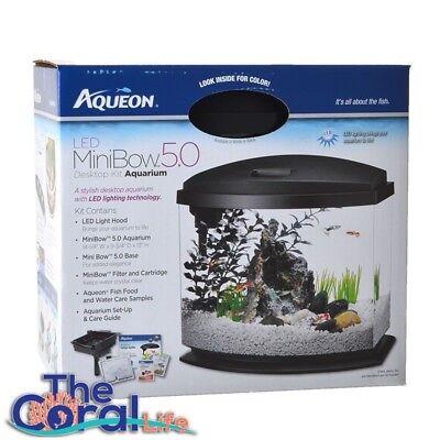 AQUEON LED MINI BOW BLACK DESKTOP FISH AQUARIUM KIT - 5 GALLON