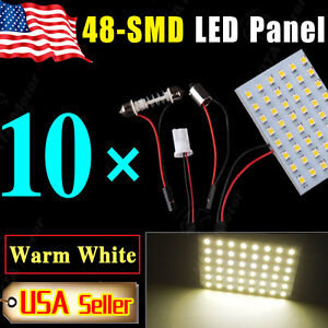 10PCS-Festoon-T10-BA9S-Warm-White-LED-48-SMD-Panel-Interior-Dome-Map-Light-Bulbs