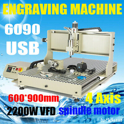 Usb Cnc 6090 4axis 2200w Router Milling Engraving Diy Machine 3d Carving Desktop