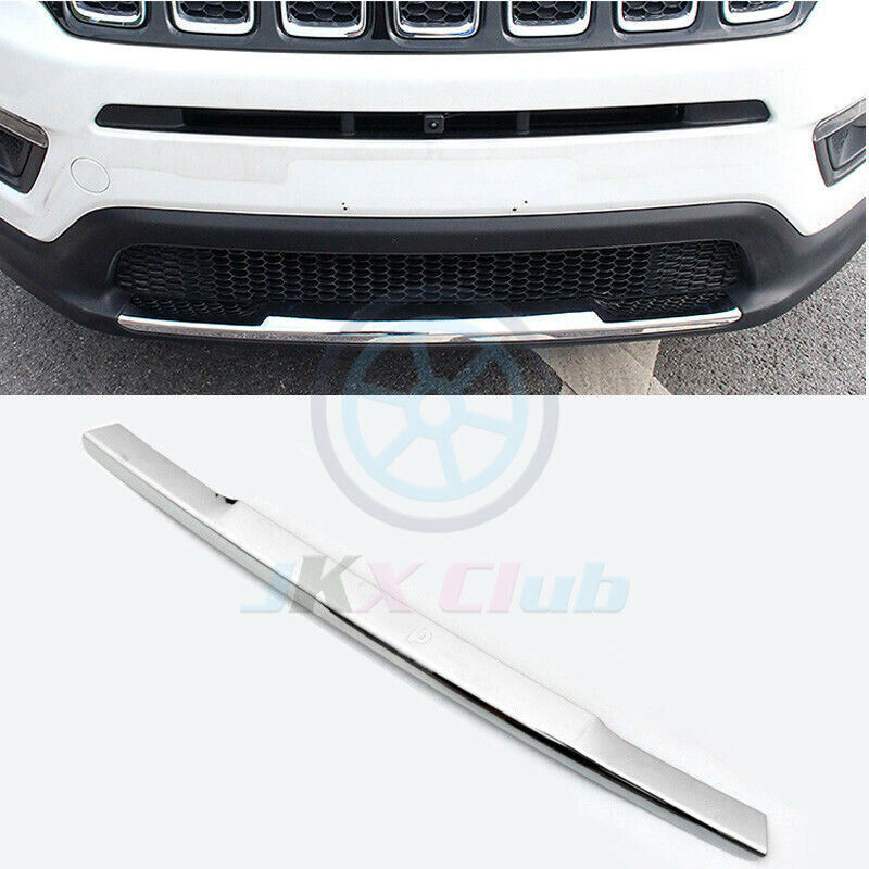 Car ABS Chrome Front Bumper Lower Guard Cover Trim For Jeep Compass 2016-2018 17