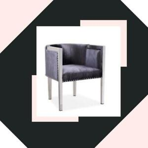 ACCENT CHAIR STAINLESS STEEL LEGS CHARCOAL VELVET (GY2414)