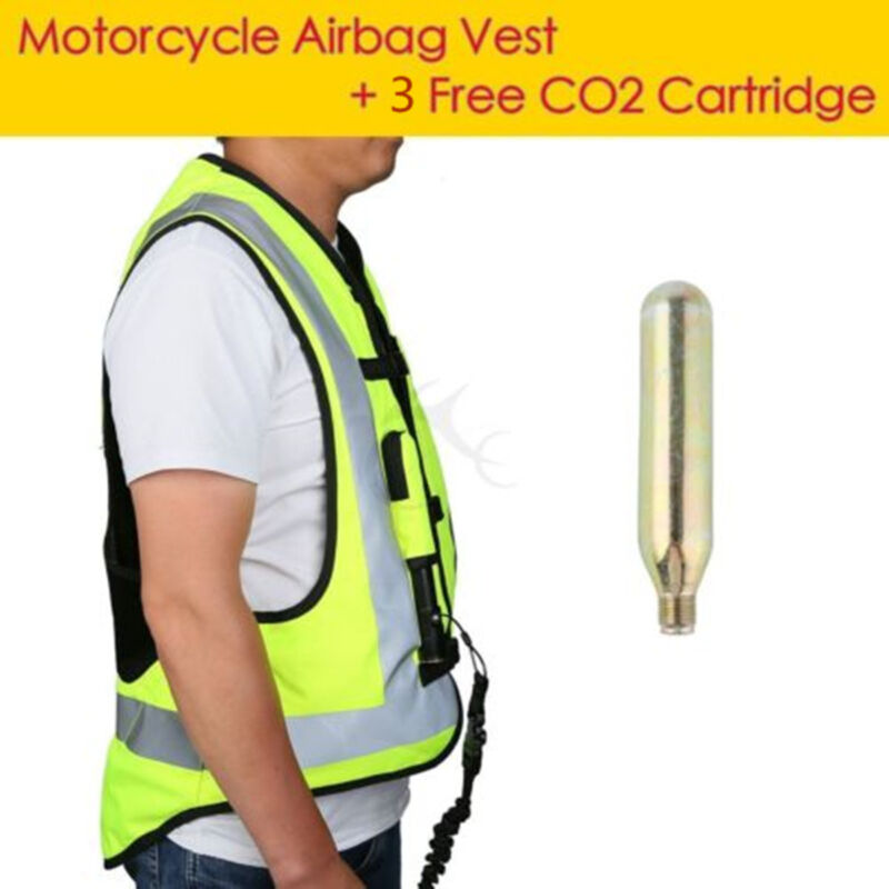 Motorcycle Air Bag Airnest Airbag Vest Hi Visibility CO2 Cartridge Size Large