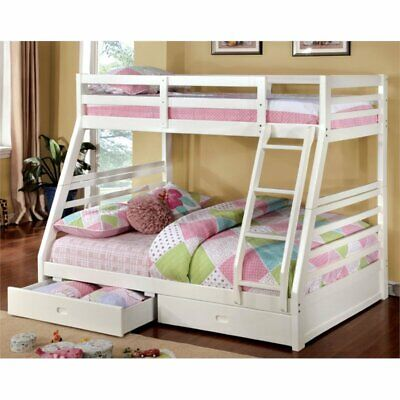 Bowery Hill Twin Over Full Bunk Bed in White