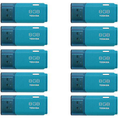 Toshiba 8GB TransMemory U202 USB Flash Drive Memory Stick 10 Pack Aqua Official